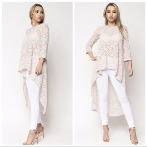Tops - NEW High Low Taupe Cream Lace Top